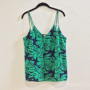 Skies are Blue leaf print spaghetti strap blouse